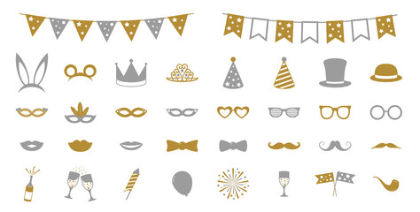 Collection of golden party icons. Vector.