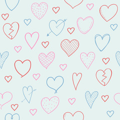 Seamless pattern with hand drawn hearts - concept of a wrapping paper. Vector.
