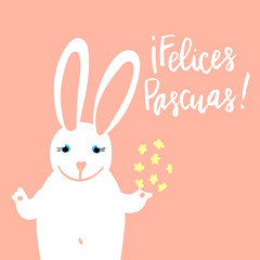 Felices Pascuas (Happy Easter) card template with cute bunny holding a decorated egg. Hand written lettering.