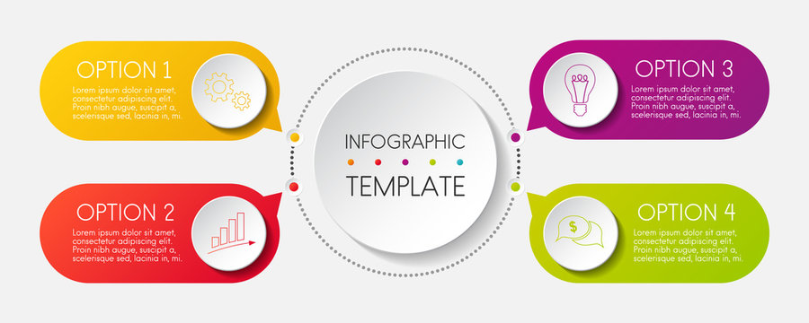 Template of infographic with 4 steps. Vector.