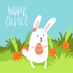 Happy Easter card template with cute white bunny holding a decorated egg on background of grass carrots sky with hand written lettering.