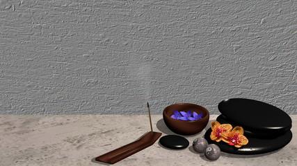 Ein Räucherstäbchen, eine Schale mit Blüten, ein Steinhaufen aus Bimssteinen, Chinesische Qi Gong-Kugeln und Orchideenblüten vor grauem Hintergrund. 3d render