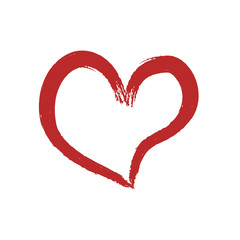 Red heart drawn by paint imitation on a white background