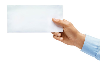 Man's hand in shirt holds envelope isolated on white background. Close up. High resolution product