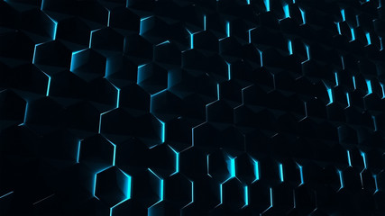 Background from a random rotation of a hexagon with a blue backlight. Abstract technology background with rich details of honeycomb. Technology theme. Futuristic interface. HUD design. 3d rendering.