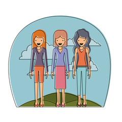 group of elegant women in the field avatars vector illustration design