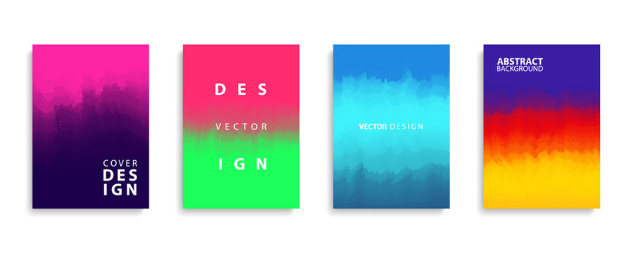 Covers design collection with modern abstract color gradients patterns. Templates set for brochures, posters, banners and cards. Vector illustration.