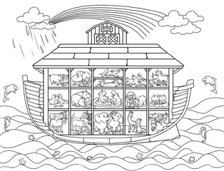 Ark of Noah in a cut with pairs of animals. Coloring