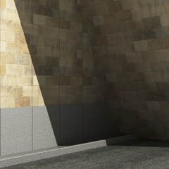 Wall Mural - Street, Shadow on the wall. 3d illustration