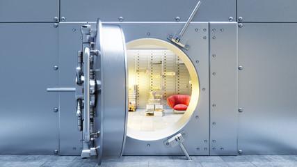 open bank safe door with dollars bills and gold inside 3d illustration