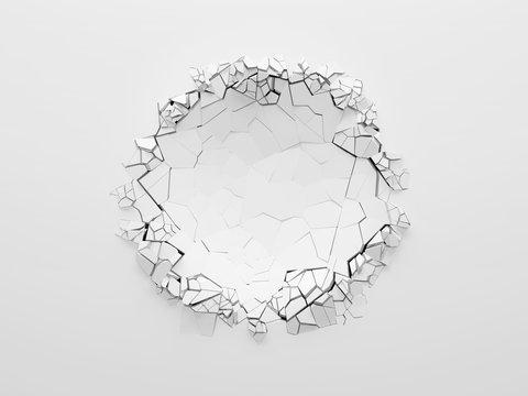 White broken wall.
