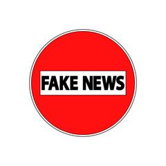 Icono plano FAKE NEWS en prohibido el paso