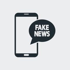 Icono plano FAKE NEWS en smartphone en fondo gris