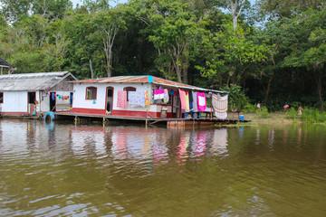 Amazon river houses in Amazonas, Brazil