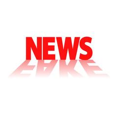 Icono plano NEWS en rojo con reflejo FAKE