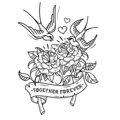 Tattoo Swallows fly over two roses. Love forever. Black and white illustration