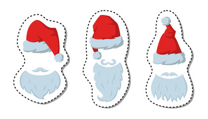 Cartoon sticker with red hats and beards of Santa Claus on the white background.