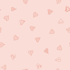 chaotic vector pink doodle hearts seamless pattern - for Valentine's day