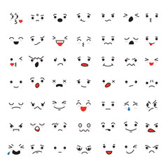 Set of cartoon kawaii faces, different emotions.