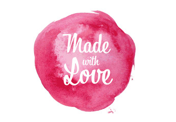 Made with Love Digital Card with Watercolor Element