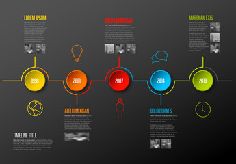 Timeline Infographic with Colorful Buttons and Business Icons