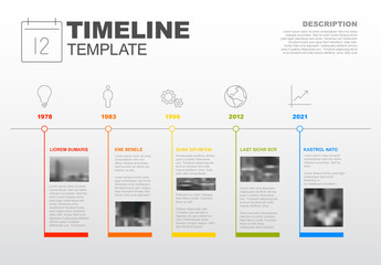 Horizontal Timeline Infographic with Photo Inserts and Business Icons