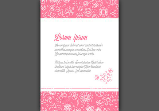 Pink Digital Card with Outlined Floral Elements