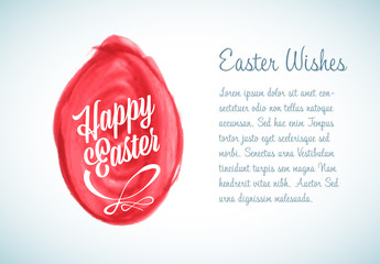 Digital Easter Card with Watercolor Brush Stroke Egg