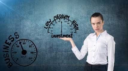 Woman start her startup business. Female investor accelerate start-up project concept. Background with freehand sketches