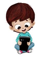 Niño con un teléfono o tablet jugando en el suelo