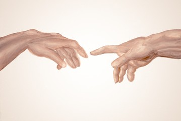 Creation of Adam hand drawn watercolor, fragment of Sistine Chapel fresco by Michelangelo. God and Adams hands. Two hands. Touch. Union. Illustration of paints. Faith in God Concept.