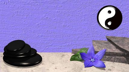 Bruchsteine, lila Blüte mit Orangenblatt, yin und Yang Symbol und ein Steinhaufen aus Bimssteinen vor lila Hintergrund. 3d render