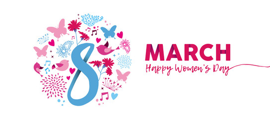 March 8th Womens Day pink flower banner design