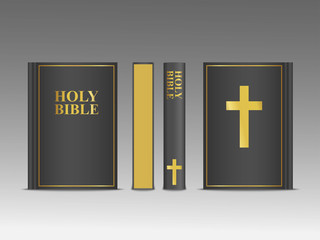 Closed Holy Bible vector 3d template.  Religion book mock up with black cover and gold frame with cross and font. Christian religious illustration front, side and back view