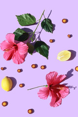 Hibiscus flowers and lemon halves
