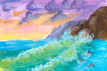 Watercolor seascape, rocks in the sea shore. hand drawn illustration landscape. Watercolor painting colorful waves and clouds sky. Gouache paint child, kids drawing.