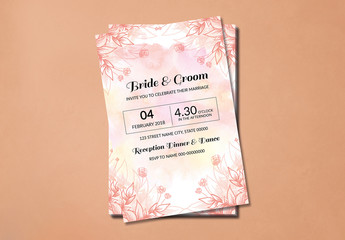 Flower Bloom and Watercolor Wedding Invitation Layout 1
