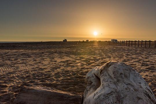 Frankreich, Provence-Alpes-Côte d'Azur, Arles, Sonnenuntergang am Strand mit Treibholz