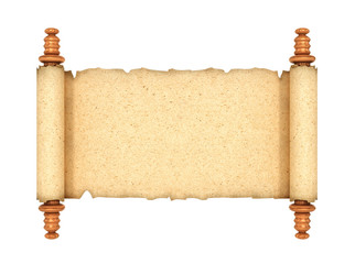 scroll, the old parchments isolated. 3d illustration