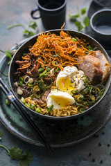 Ramen noodles with eggs and meat