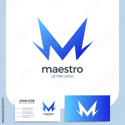 Abstract Letter M Logo Dynamic Unusual Font Universal Fast Speed