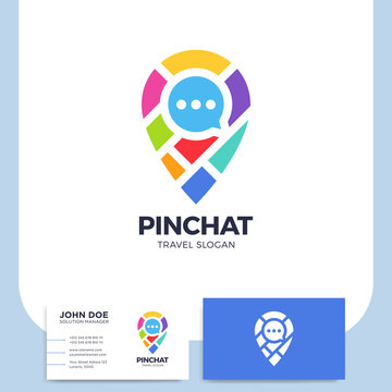 Chat bubble pin with map icon logo