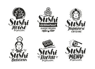 Sushi and Rolls logo or label. Japanese fast food, sashimi symbol. Typography vector illustration