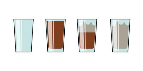 Glass set of cocoa hot chocolate milkshake coffee tea. Isolated vector illustration