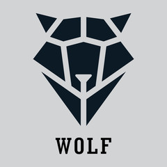 Wolf head geometric style. Polygonal triangular animal illustration