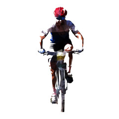 Cycling, polygonal vector mountain biker cyclist on his bike, front view