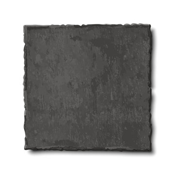 Vector realistic illustration of dark grey slate plate isolated on white background. Top view of black stone empty rectangular, square dish, food background.