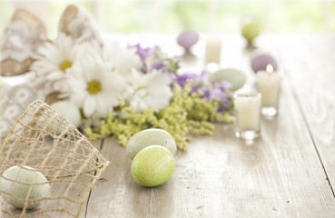 Vintage Easter Eggs, Daisies bouquet, Easter eggs on old wood table