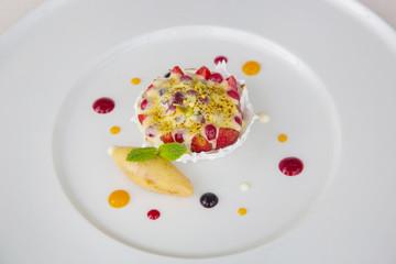 Elegant dessert in the plate, molecular gastronomy, haute couture dessert