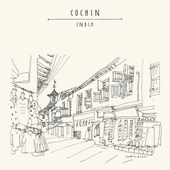 Paradesi synagogue and Market street in Cochin (Kochi), Kerlala, India. Jew Town. Heritage building. Famous historical and religious landmark. Vector hand drawn travel postcard